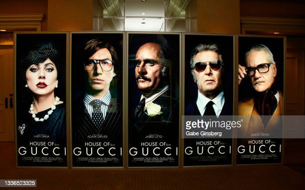 """An illuminated advertisement for the upcoming """"House of Gucci"""" movie is displayed at Caesars Palace during CinemaCon, the official convention of the..."""