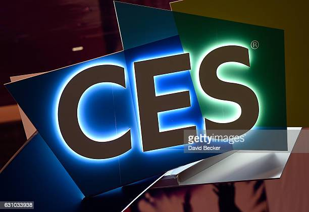 An illuminated CES sign is seen in the hallways at CES 2017 at the Las Vegas Convention Center on January 5 2017 in Las Vegas Nevada CES the world's...