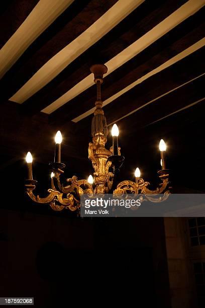 An illuminated chandelier