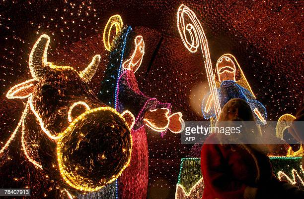 An illuminated Christmas crib is seen 11th December 2007 in Medellin department of Antioquia Colombia AFP PHOTO/Raul ARBOLEDA