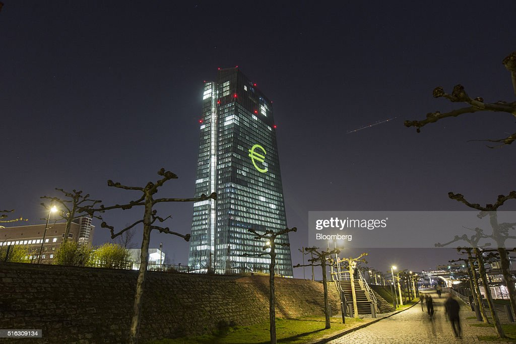 The European Central Bank's Headquarters Illuminated During Luminale Light Festival : News Photo