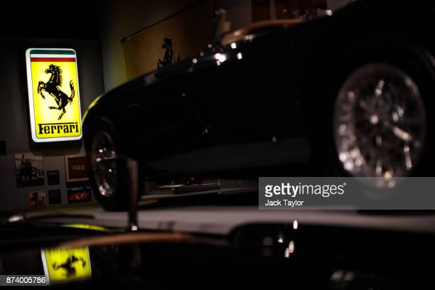 An illuminated Ferrari sign on display at the 'Ferrari Under the Skin' exhibition at the Design Museum on November 14 2017 in London England £140M...