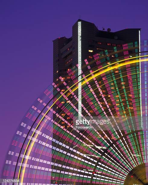 an Illuminated Ferris Wheel, In Front of the Landmark Tower, Yokohama City, Kanagawa Prefecture, Japan
