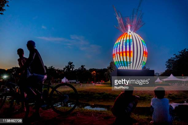 An illuminated giant Easter egg installed in the Ibirapuera Park before the commemoration of Easter in São Paulo Brazil on April 21 2019