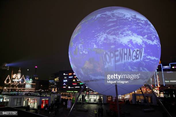 An illuminated globe with the writing 'Hopenhagen' stands in the city center next to the parliament on December 6 2009 in Copenhagen Denmark...