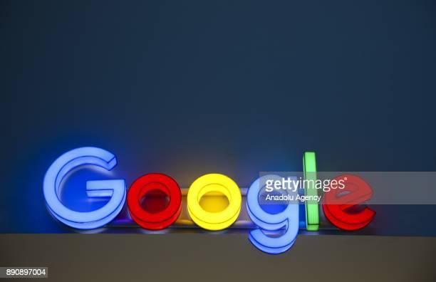 An illuminated 'Google' logo is seen in Ankara Turkey on December 12 2017