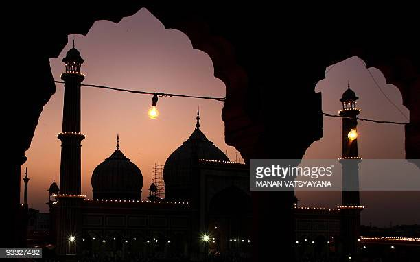 An illuminated Jama Masjid mosque in the old quarters of New Delhi on September 2 2008 the first day of holy fasting month of Ramadan Muslims around...