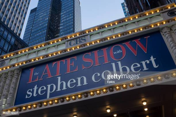 An illuminated sign at the Ed Sullivan Theater on Broadway advertising the Late Show With Stephen Colbert which is filmed there The Late Show With...