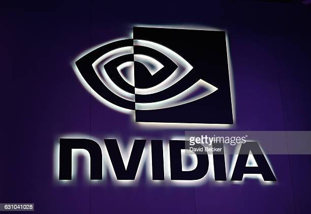 An illuminated sign at the Nvidia booth is seen at CES 2017 at the Las Vegas Convention Center on January 5, 2017 in Las Vegas, Nevada. CES, the...