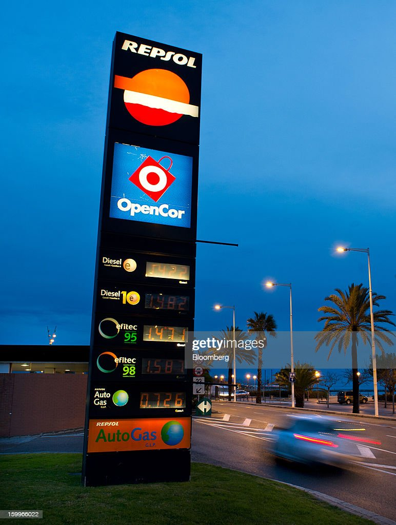 An illuminated sign displays diesel fuel prices outside a Repsol SA gas station near La Marbella beach in Barcelona, Spain, on Wednesday, Jan. 23, 2013. Repsol SA, Spain's largest energy company, expects to sell liquefied natural gas assets for about 2 billion euros ($2.7 billion) by early February, according to a person familiar with the matter. Photographer: David Ramos/Bloomberg via Getty Images