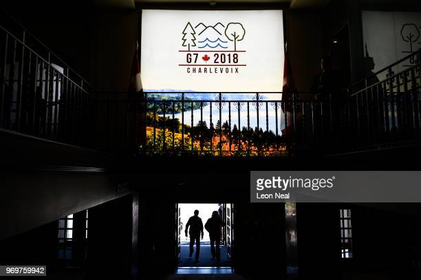 An illuminated sign displays the G7 2018 logo on the first day of the G7 Summit on 8 June 2018 in La Malbaie Canada Canada will host the leaders of...