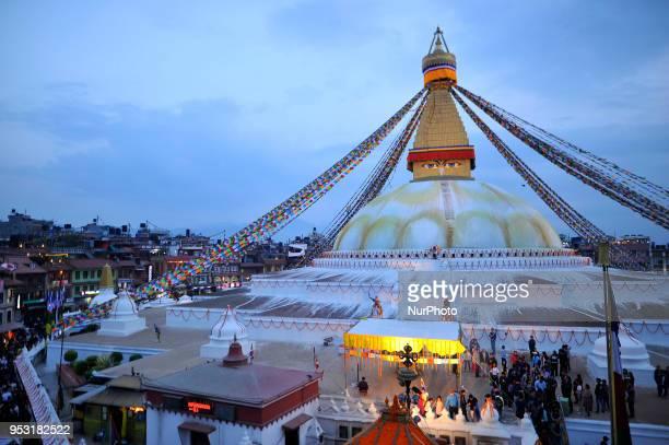 An illuminated view of Boudhanath Stupa during celebration the 2562 Buddha Purnima festival Birth Anniversary of Lord Gautam Buddha at Kathmandu on...