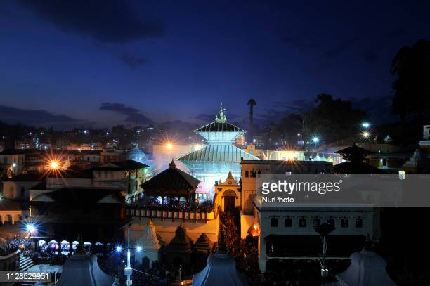 An illuminated view of Pashupatinath Temple during Eve of Maha Shivaratri Festival celebrated at Kathmandu Nepal on Sunday March 03 2019 Thousands of...