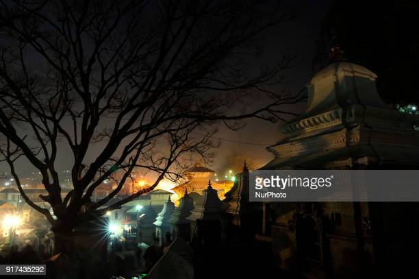 An illuminated view of Pashupatinath Temple during Eve of Maha Shivaratri Festival celebrated at Pashupatinath Temple Kathmandu Nepal on Monday...