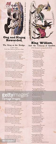 An illustrated songsheet 1831 Two images with the songs 'Gog and Magog rewarded' and 'King William and the citizens of London' beneath The left image...