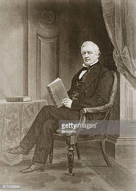 An illustration after a painting by Chappel of Millard Fillmore the thirteenth President of the United States He is seated in a chair holding a book...