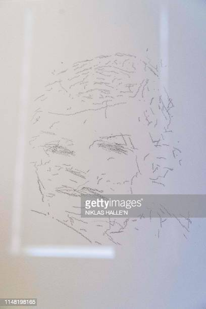 An illustration by AiDa the AI humanoid robot artist described as depicting British Mathematician and code breaker Alan Turing is seen at a press...