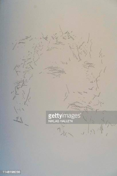 An illustration by AiDa the AI humanoid robot artist described as depicting Italian Renaissance polymath Leonardo da Vinci is seen at a press...