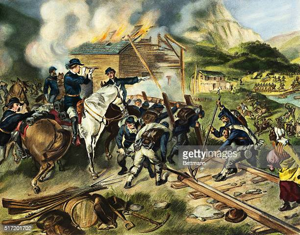 An illustration by Felix Octavius Carr Darley depicts the destruction wrought by Union soldiers in Georgia while under the command of General William...