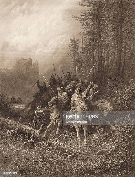 An illustration by Gustave Dore entitled 'The Knight's Progess' from one of the twelve parts of 'Idylls of the King,' a twelve-part poem retelling...
