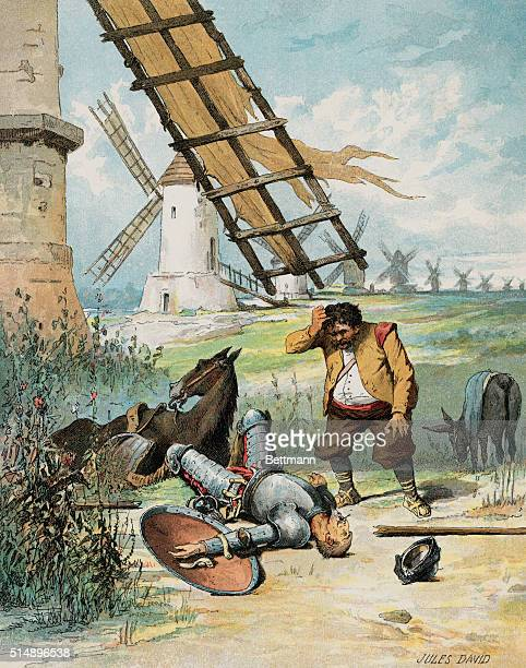 An illustration by Jules David from a 1835 French edition of Don Quichotte by Miguel Cervantes Sancho Panza finds Don Quixote after Don Quixote...