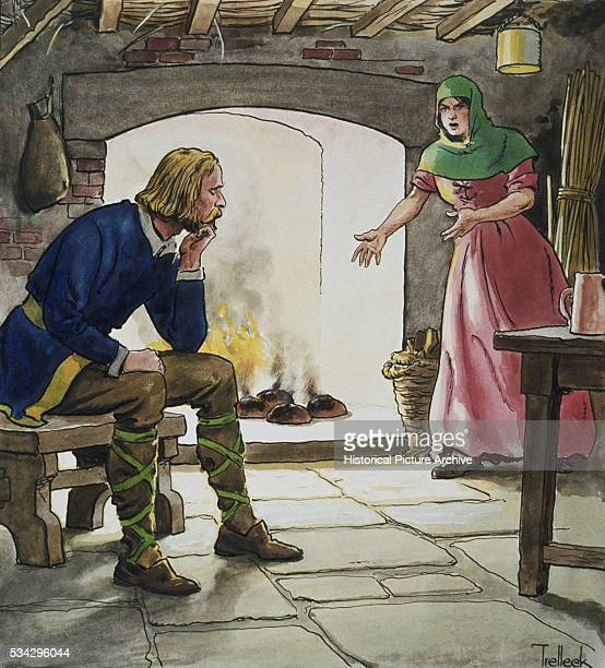 'An illustration by Trelleck showing King Alfred the Great accidentally allowing cakes to burn while sheltering with a peasant woman Alfred youngest...