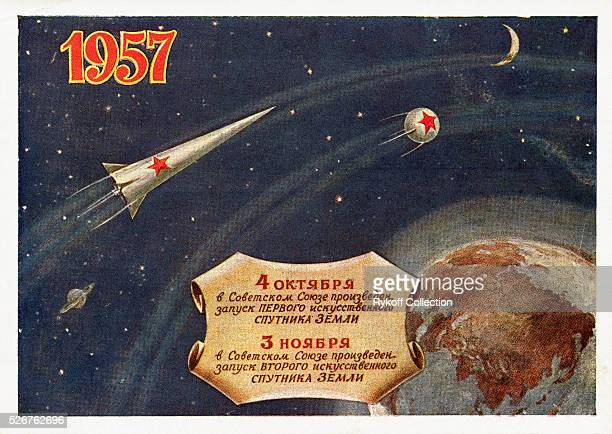 An illustration celebrating the launch of Sputnik I and II in 1957 The card reads 4 October the USSR launched Earth's first artificial satellite 3...