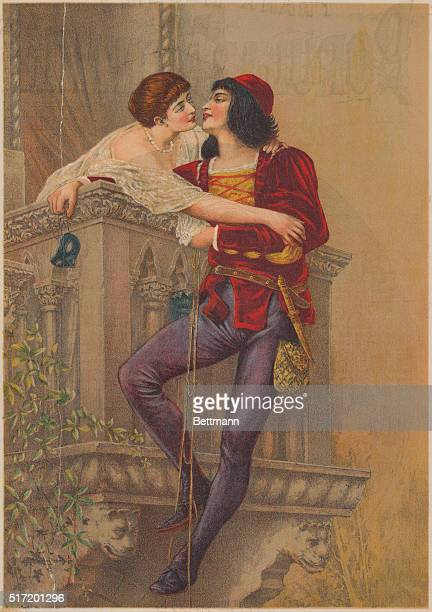 An illustration depicting a romantic scene from Shakespeare's Romeo and Juliet