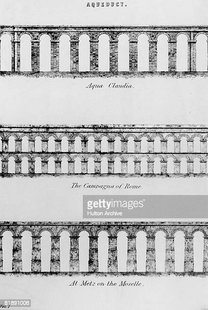 An illustration depicting varied styles of Roman aqueduct circa 1850 The examples used are the Aqua Claudia and the two tiered Camagna both in Rome...