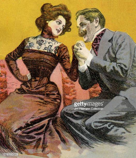 An illustration depicts a cultured man and woman sitting next to each other on a seat as the man holds the womans hand and looks confidently at her,...