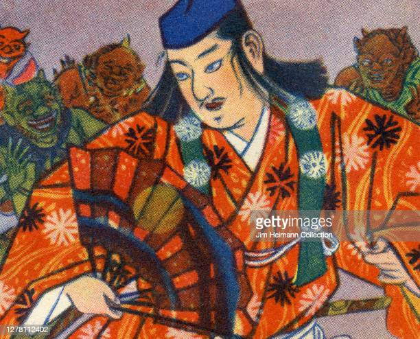 An illustration depicts a Japanese samurai surrounded by goblins ca 1933