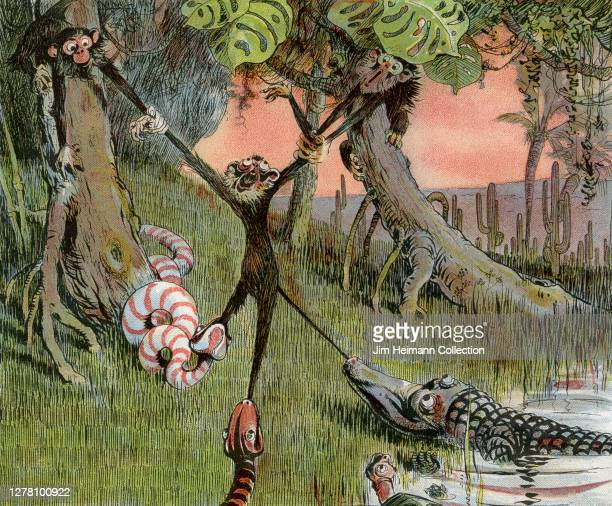 An illustration depicts a jungle scene in which a monkey is literally being pulled in all directions by another monkey, a snake, an alligator, and a...
