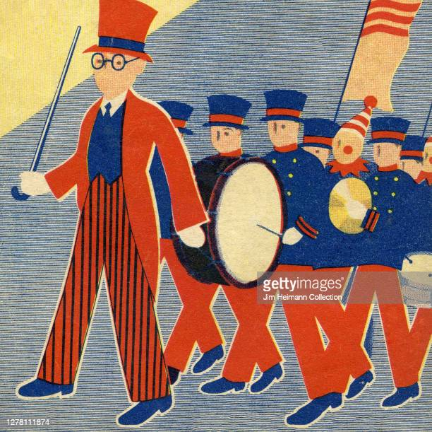 An illustration depicts a marching band dressed in red and blue uniforms ca 1937
