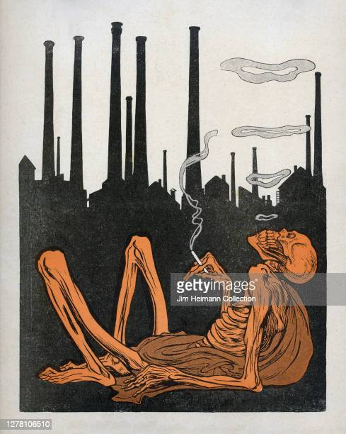 An illustration depicts a skeleton leaning back and smoking a cigarette against the silhouette of an industrial city, circa 1919.