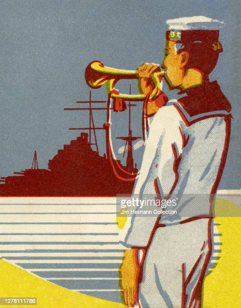 An illustration depicts a uniformed sailor blowing a trumpet with a battleship in the distance ca 1939