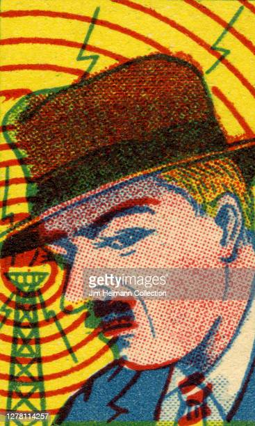 An illustration depicts an archetypal detective in a fedora listening to a signal coming in over the airwaves ca 1940