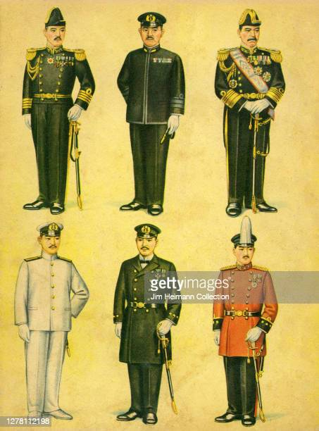 An illustration depicts six military men displaying their uniforms ca 1939