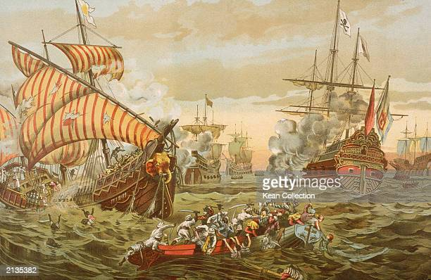 An illustration depicts the destruction caused by Portuguese explorer Vasco da Gama on Mohammedan pilgrims during his 1497 1499 journey around the...