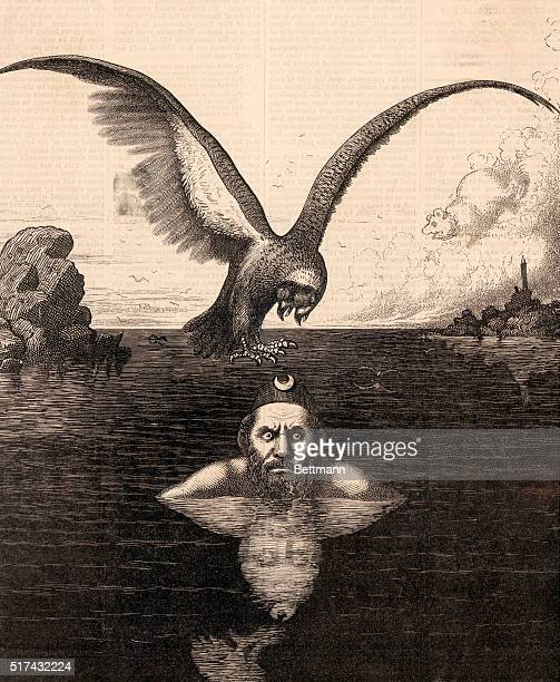 An illustration entitled The Situation on the Black Sea A man wearing a crescent moon on his hat rises showly from the Black Sea as a twoheaded eagle...
