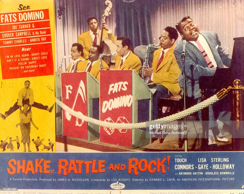 An illustration featuring R&B musician Fats Domino to promote the release of the movie 'Shake, Rattle & Rock' which released out in November of 1956.