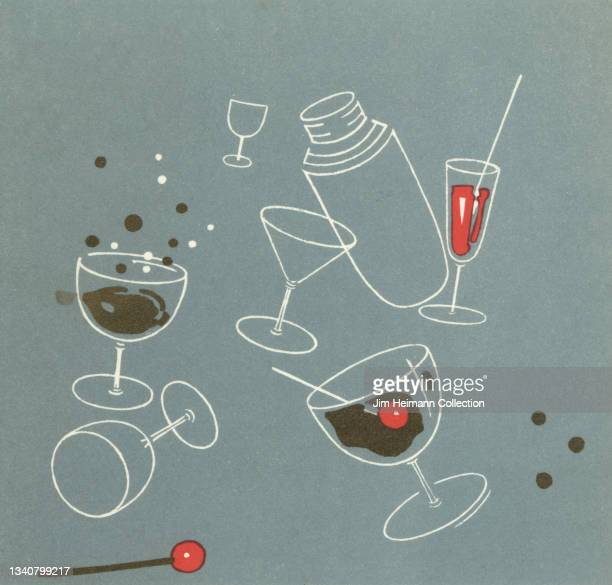 An illustration for a steamship menu features an assortment of cocktail glasses, shakers, and swizzle sticks in a pleasing arrangement against a pale...
