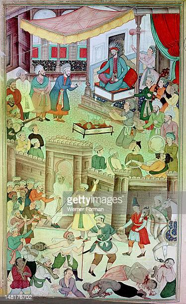 An illustration for the 14th century Persian story 'The History of the Mongols' Illustration of the 19th story of Ghazan Khan The punishment of...