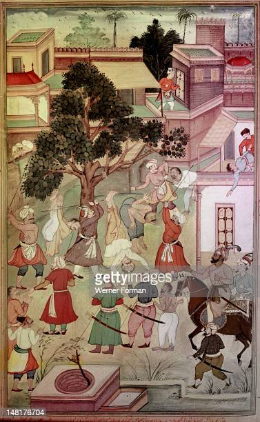 An illustration for the 14th century Persian story 'The History of the Mongols' Illustration of the 16th story of Ghazan Khan The tax collectors are...