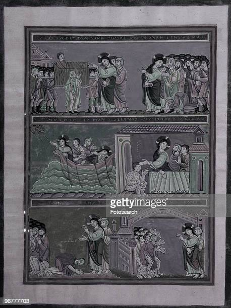 An Illustration from a 16th Century German Bible of Jesus Christ Curing Lepers circa 1550