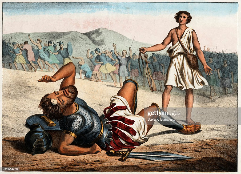 David Victorious Over Goliath 19th-Century Print : News Photo