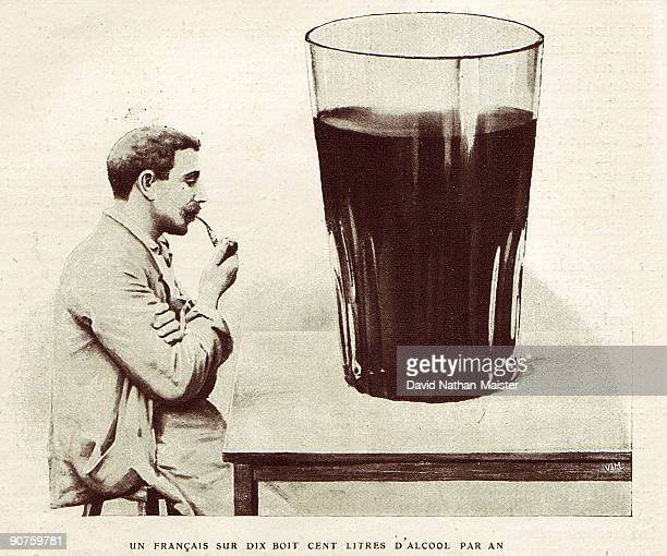 An illustration from an article entitled �L'Absinthe Tueuse� which appeared in the February 1907 issue of the journal �Je Sais Tout� The huge glass...