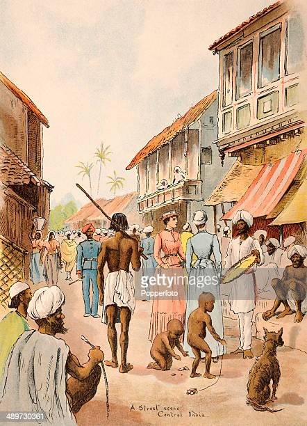 An illustration from Lloyd's Sketches of Indian Life featuring a street scene in central India published in London circa 1890