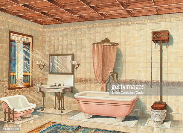 An illustration from Mott Iron Works 1884 catalog the bathroom has a waffle ceiling and tile covered walls the bathroom features a toilet tub shower...