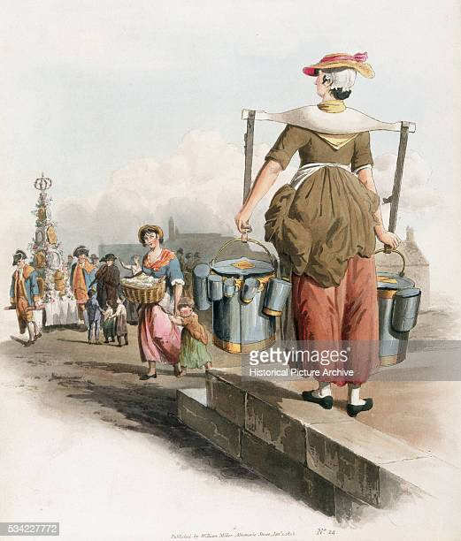 An illustration from The Costume of Great Britain by William Henry Pyne which depicts a wide variety of British trades occupations and services