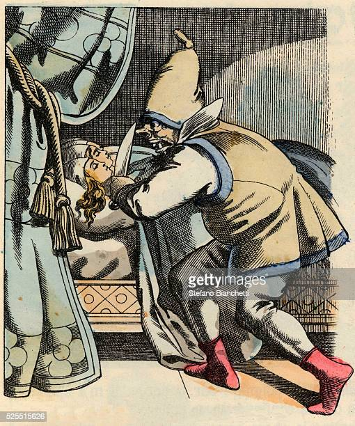 An illustration from the fairy tale Little Thumb by Charles Perrault